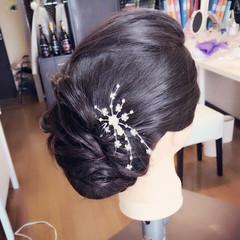 花嫁 セミロング ヘアアレンジ 梅雨 ヘアスタイルや髪型の写真・画像