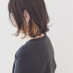 インナーカラー 黒髪 ストリート ボブ ヘアスタイルや髪型の写真・画像