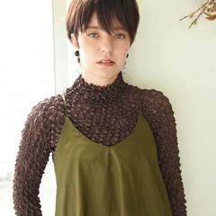 秋 透明感 ショート ナチュラル ヘアスタイルや髪型の写真・画像