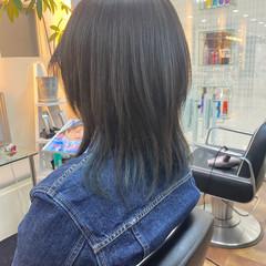 ミディアム ブリーチオンカラー モード ダークグレー ヘアスタイルや髪型の写真・画像