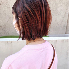 ボブ ピンク バレイヤージュ ストリート ヘアスタイルや髪型の写真・画像