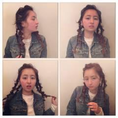 ヘアアレンジ 三つ編み ストリート ウェットヘア ヘアスタイルや髪型の写真・画像