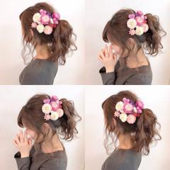 フェミニン 簡単ヘアアレンジ ポニーテール ヘアアレンジ ヘアスタイルや髪型の写真・画像