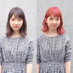 ミディアム ピンク ベリーピンク レッド ヘアスタイルや髪型の写真・画像