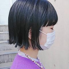 黒髪 前髪 外ハネボブ ミニボブ ヘアスタイルや髪型の写真・画像