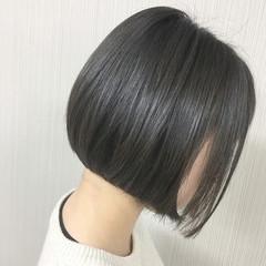 モード アッシュ ボブ ヘアスタイルや髪型の写真・画像