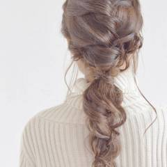 ヘアアレンジ 編み込み 三つ編み 愛され ヘアスタイルや髪型の写真・画像