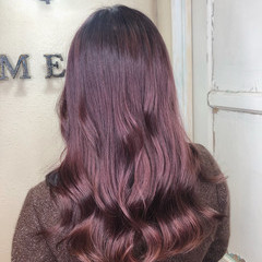 ロング ガーリー ラベンダーピンク ピンクラベンダー ヘアスタイルや髪型の写真・画像