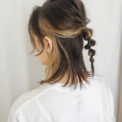 セルフヘアアレンジ ナチュラル 切りっぱなしボブ ボブ ヘアスタイルや髪型の写真・画像