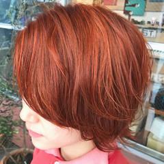 ショート ストリート ハイトーン オレンジ ヘアスタイルや髪型の写真・画像