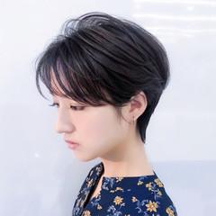 デート ショート ナチュラル 小顔ショート ヘアスタイルや髪型の写真・画像