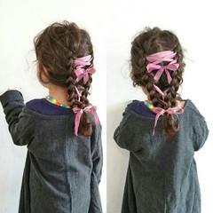 ヘアアレンジ セミロング 子供 外国人風 ヘアスタイルや髪型の写真・画像