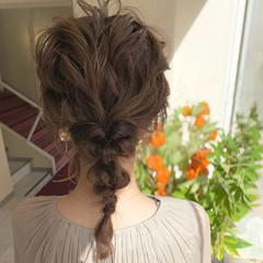 フェミニン ヘアアレンジ セミロング 編みおろし ヘアスタイルや髪型の写真・画像