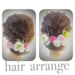 セミロング 編み込み 簡単ヘアアレンジ ヘアアレンジ ヘアスタイルや髪型の写真・画像
