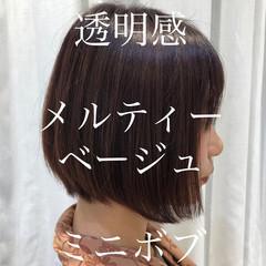 ミニボブ フェミニン 暗髪 大人可愛い ヘアスタイルや髪型の写真・画像