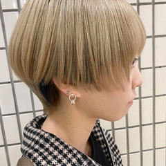 ホワイトブリーチ ナチュラル ボブ ブリーチカラー ヘアスタイルや髪型の写真・画像