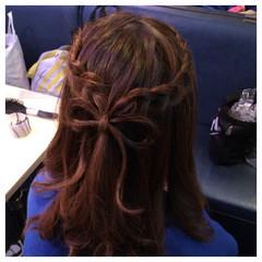 ヘアアレンジ ミディアム 裏編み込み ヘアスタイルや髪型の写真・画像