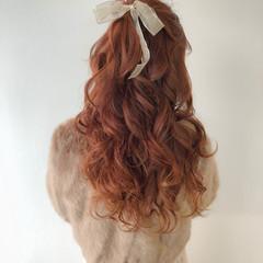 オレンジ ガーリー アプリコットオレンジ ヘアアレンジ ヘアスタイルや髪型の写真・画像