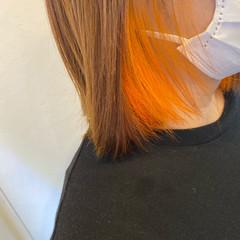 ナチュラル オレンジカラー インナーカラー オレンジ ヘアスタイルや髪型の写真・画像
