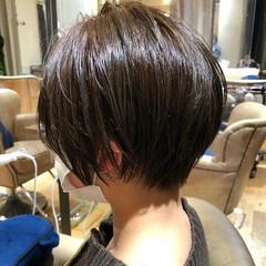 ショートボブ 絶壁カバー 小顔ショート ナチュラル ヘアスタイルや髪型の写真・画像