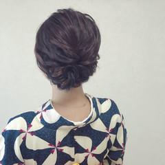 ヘアアレンジ 和装 デート ミディアム ヘアスタイルや髪型の写真・画像