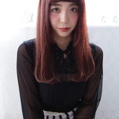オン眉 ワンカール ストレート ロング ヘアスタイルや髪型の写真・画像