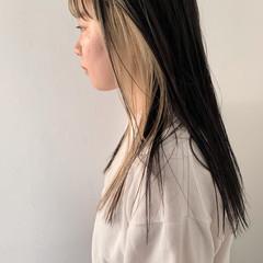 ロング デート ハイトーン インナーカラー ヘアスタイルや髪型の写真・画像