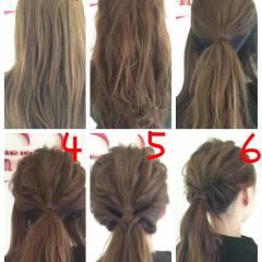 ヘアアレンジ ロング 波ウェーブ ローポニーテール ヘアスタイルや髪型の写真・画像