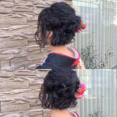 フェミニン ヘアアレンジ ボブ 謝恩会 ヘアスタイルや髪型の写真・画像