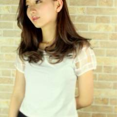 コンサバ セミロング ピンク モテ髪 ヘアスタイルや髪型の写真・画像