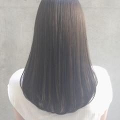 ナチュラル ストレート パーマ セミロング ヘアスタイルや髪型の写真・画像