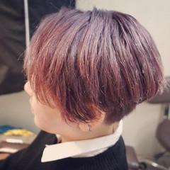 ガーリー ピンクカラー ボブ ピンクベージュ ヘアスタイルや髪型の写真・画像