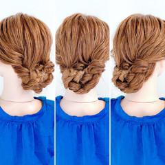 ヘアセット 三つ編み フェミニン セルフヘアアレンジ ヘアスタイルや髪型の写真・画像