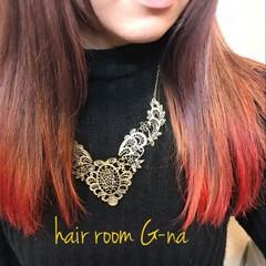 モード ロング グラデーションカラー ハイライト ヘアスタイルや髪型の写真・画像