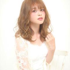 フェミニン 大人かわいい 前髪あり ピュア ヘアスタイルや髪型の写真・画像