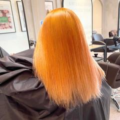 ガーリー オレンジカラー オレンジ ビビッドカラー ヘアスタイルや髪型の写真・画像