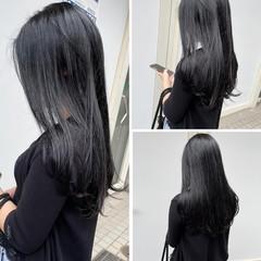 ブルーブラック ナチュラル ロング 暗髪 ヘアスタイルや髪型の写真・画像