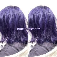 ブルーラベンダー ラベンダーカラー ブルーバイオレット ナチュラル可愛い ヘアスタイルや髪型の写真・画像