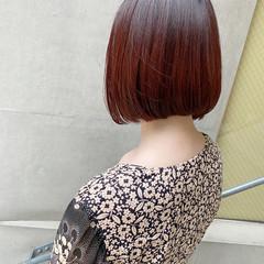 レッドカラー ナチュラル タンバルモリ ボブ ヘアスタイルや髪型の写真・画像
