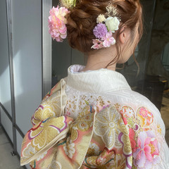 ロープ編みアレンジヘア 成人式ヘア 成人式ヘアメイク着付け 成人式カラー ヘアスタイルや髪型の写真・画像