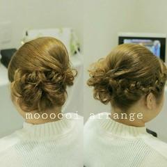 ミディアム 編み込み ヘアアレンジ 結婚式 ヘアスタイルや髪型の写真・画像