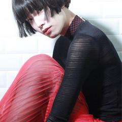 黒髪 モード ボブ ヘアスタイルや髪型の写真・画像
