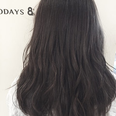 ストリート 暗髪 セミロング アッシュグレージュ ヘアスタイルや髪型の写真・画像