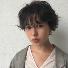 簡単 パーマ 前髪パーマ アンニュイ ヘアスタイルや髪型の写真・画像