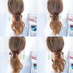 ロング ポニーテール デート 簡単ヘアアレンジ ヘアスタイルや髪型の写真・画像