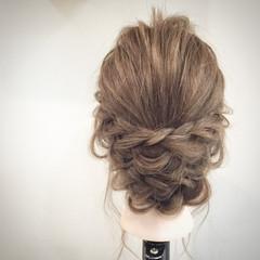 大人かわいい セミロング 編み込み ストレート ヘアスタイルや髪型の写真・画像