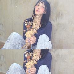 ピュア 黒髪 ガーリー セミロング ヘアスタイルや髪型の写真・画像