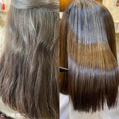 ストレート 艶髪 ナチュラル セミロング ヘアスタイルや髪型の写真・画像