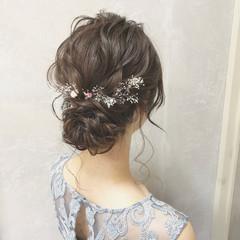 結婚式 シニヨン ヘアアレンジ 大人かわいい ヘアスタイルや髪型の写真・画像