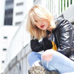 マニッシュ 透明感カラー ミディアム ヘアカラー ヘアスタイルや髪型の写真・画像